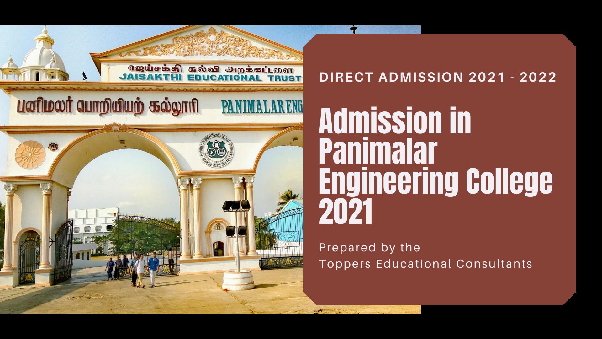 Admission in Panimalar Engineering College 2021